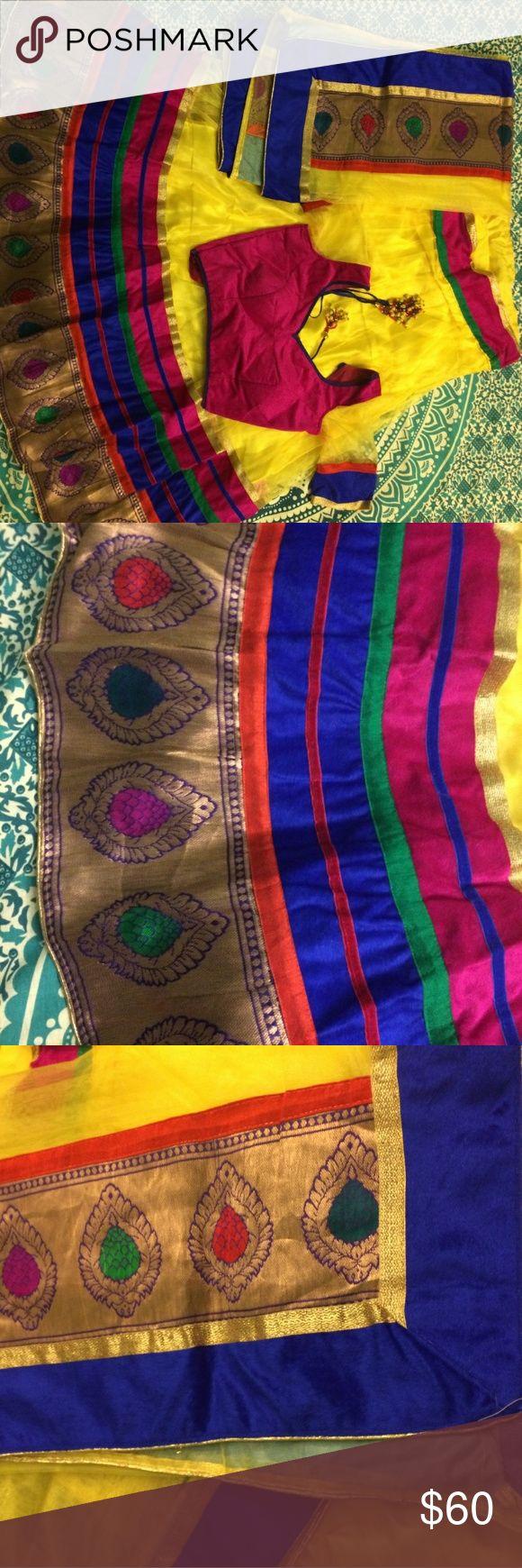 Colorful Chaniya Choli Gorgeous Chaniya Choli.   Blouse is 34.  Chaniyo fits 5'2 or 5'3. Maybe 5'4.   Worn once for Garba. Dresses