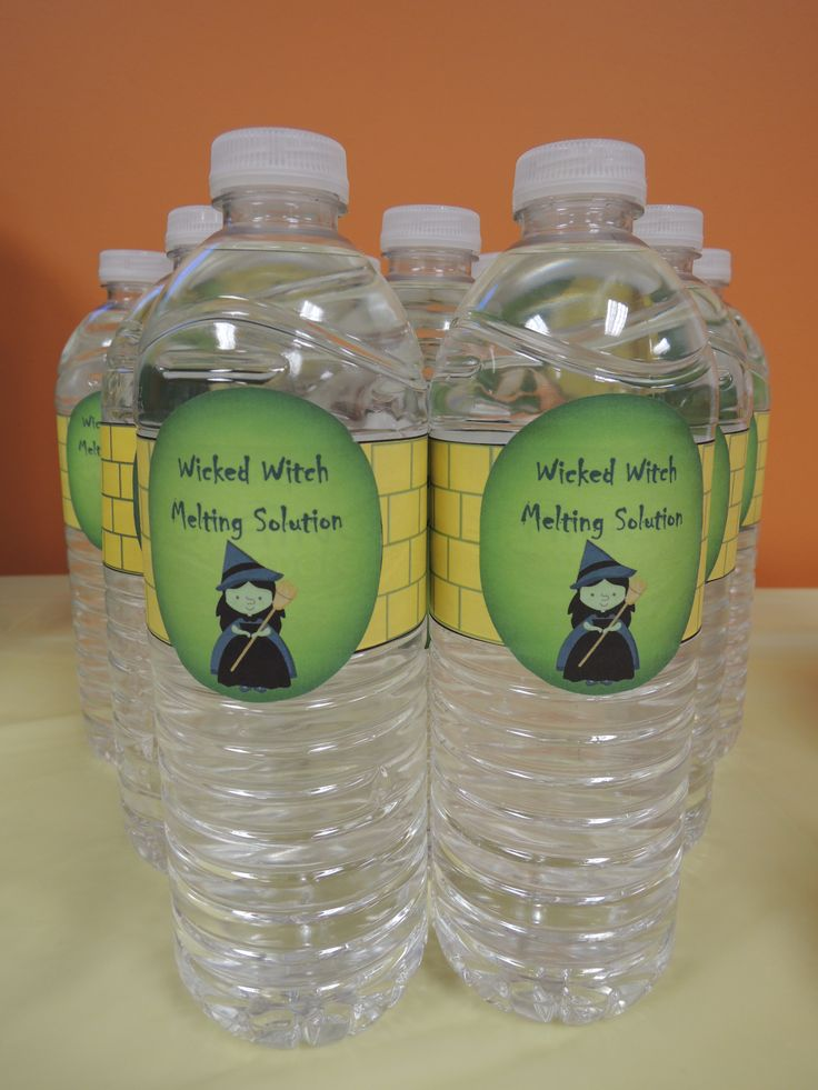 Wicked Witch Melting Solution Water bottles! Wizard of Oz baby shower