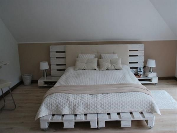 DIY pallet wooden project is shown above in the picture in which the Wooden pallet bed and the headboard is shown. And it looks beautiful in the room because the pallet planks colored white which make fabulous to the bed. See,