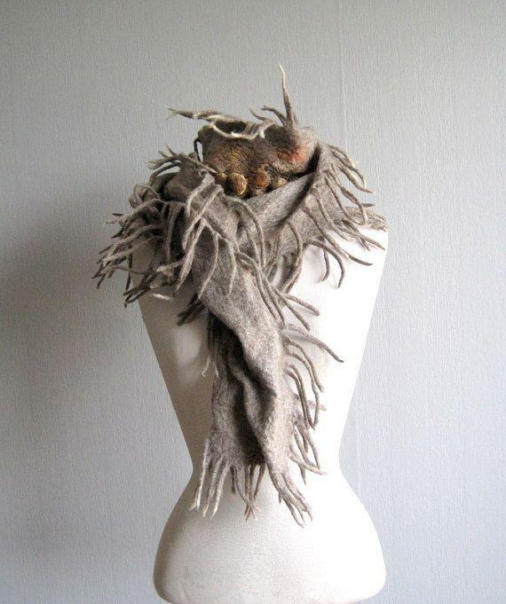 Scarf felt nunofelt rustic natural wool winter by woolpleasure