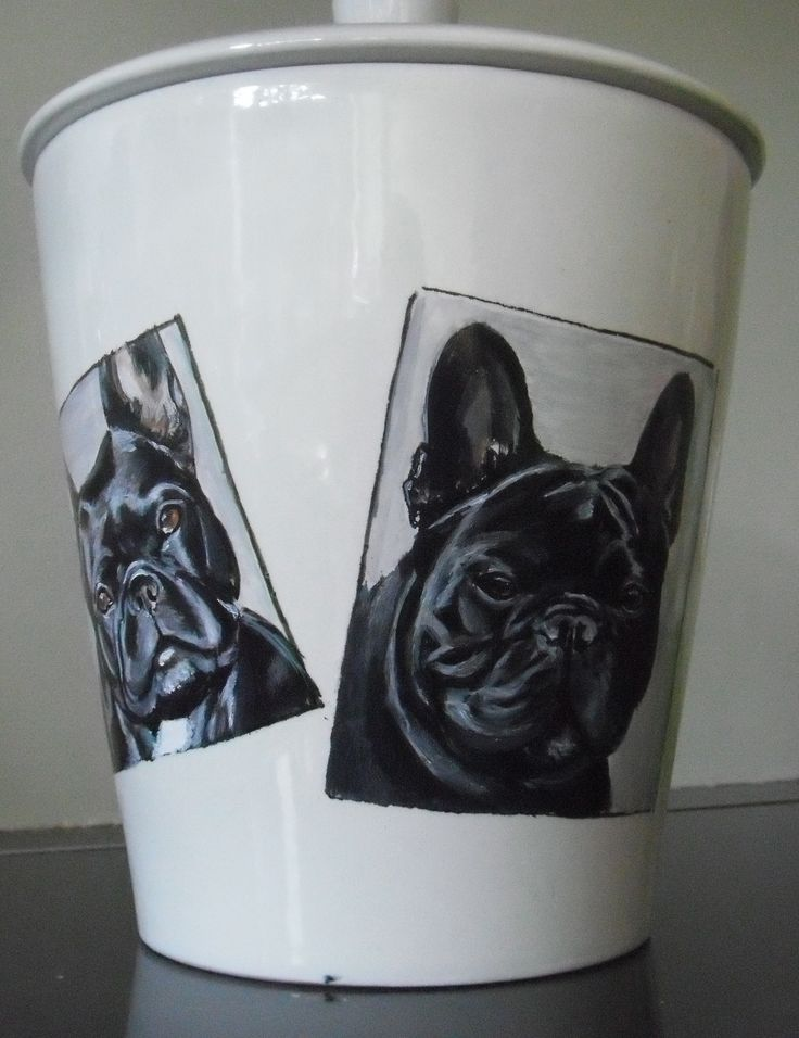 French Bulldog cookie jar, hand painted portraits. customized