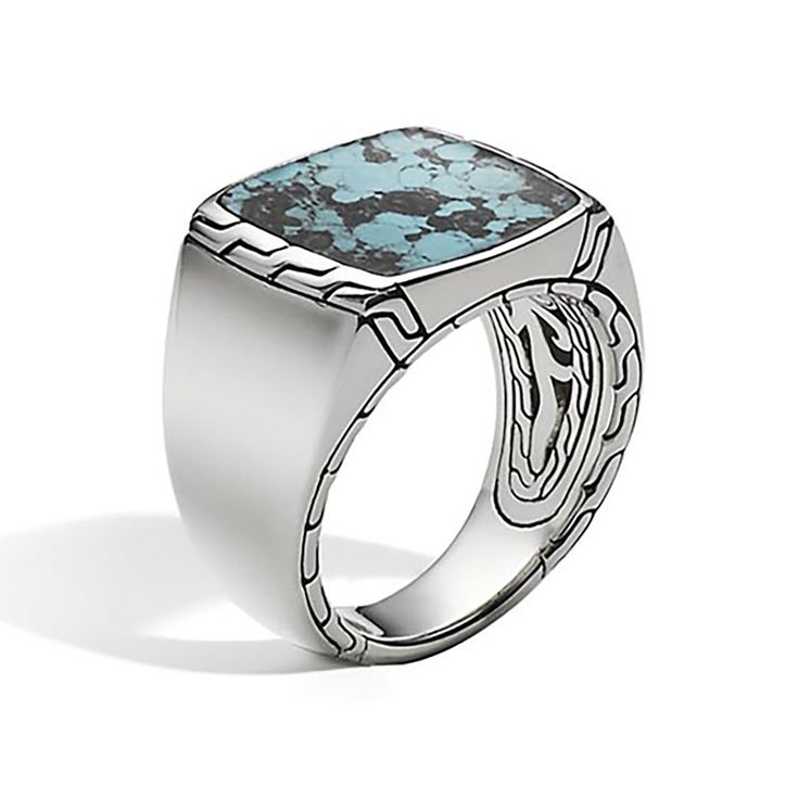 Men's Batu Classic Chain Silver Signet Turquoise Ring - RBS996691TQBM