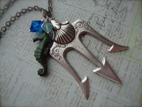 Eli's 2014 Birthday.....POSEIDON - Percy Jackson Lightning Thief Trident Necklace Antiqued Sil