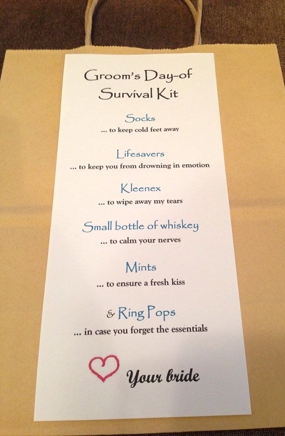 Day of Grooms wedding survival kit - gift on Etsy, $5.48 AUD