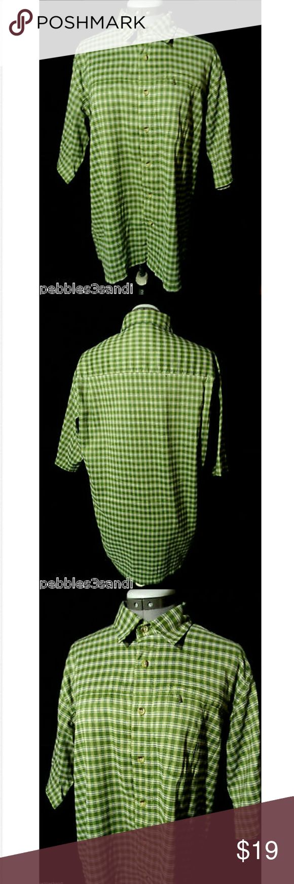 "RED HEAD Western Shirt Plaid Green men M Individual monitors may display slightly different colors or hues...?  RED HEAD WESTERN SHIRT?  TAG SIZE: M CHEST: 46"" LENGTH: 27"" from top of shoulder down SLEEVE LENGTH: Short? Lightweight MODAL blendZippered breast pocketFull button up frontGreen, light yellow and white in colorMinimal wash and wear. Check out my other discount mens clothing! RED HEAD Shirts Casual Button Down Shirts"