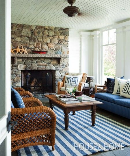 Casual Nautical Cottage Living Room In Blue And White With Wood And