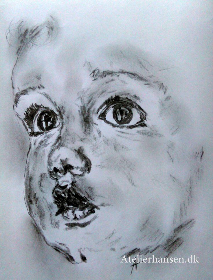 The child's amazement Barnets forundring pencil work by Atelierhansen.dk