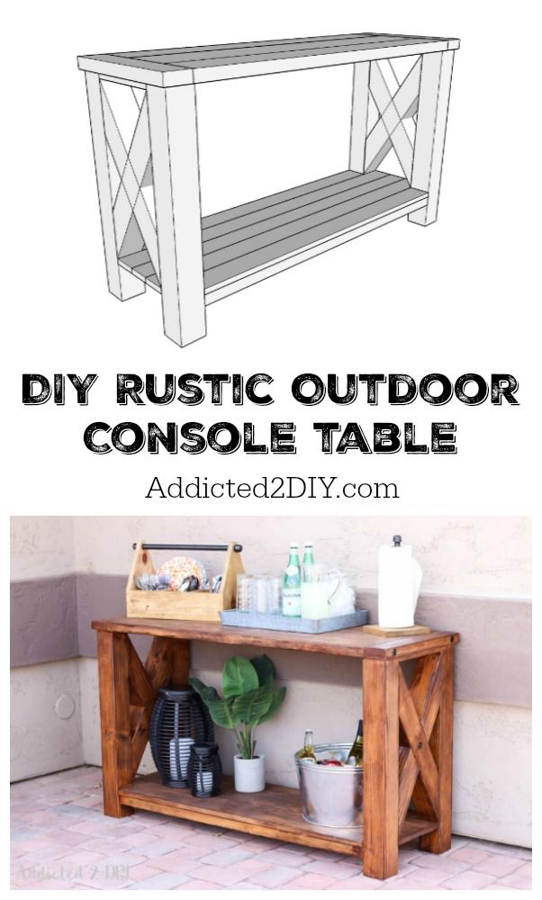 DIY Rustic Outdoor Console Table - Add outdoor storage to your deck or patio with these free plans.