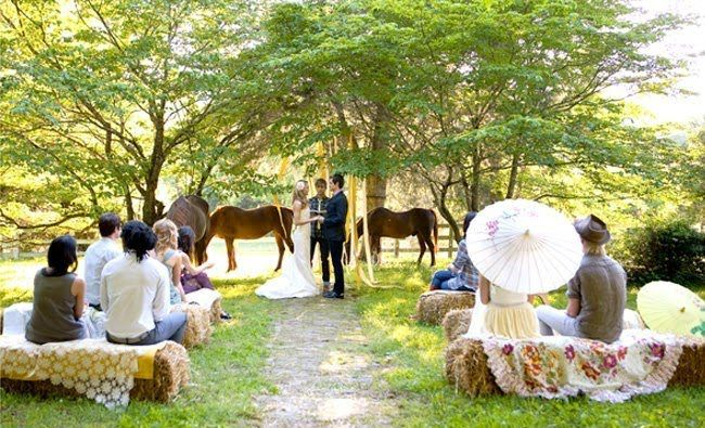 Country Wedding Inspiration | (I love the horses in the background)