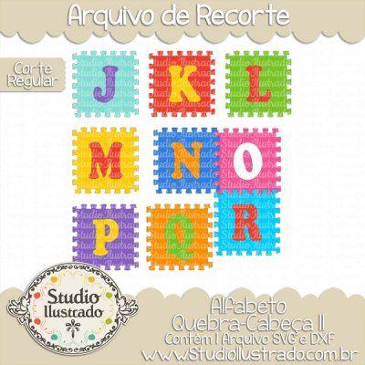 Puzzle Pieces Alphabet II, Alfabeto Peças de Quebra-Cabeça II, J à R, Fonte, Font, Letras, Letters, Corte Regular, Regular Cut, Silhouette, DXF, SVG, PNG