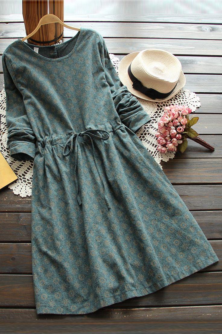 3 цветов старинные печать тонкая талия шнуровка с длинными рукавами о образным вырезом цельный платье шнурок длинное платье 2015 осень купить на AliExpress