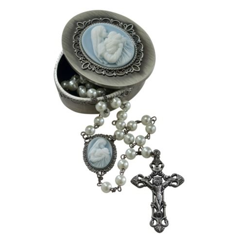 Mother's Kiss Cameo Rosary and Rosary Box
