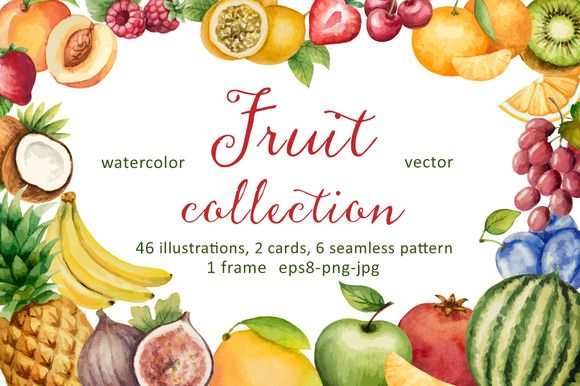 Posted by @newkoko2020 Watercolor fruit collection. by Elena Medvedeva on @creativemarket