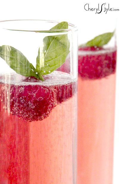 basil and raspberry Champagne cocktail