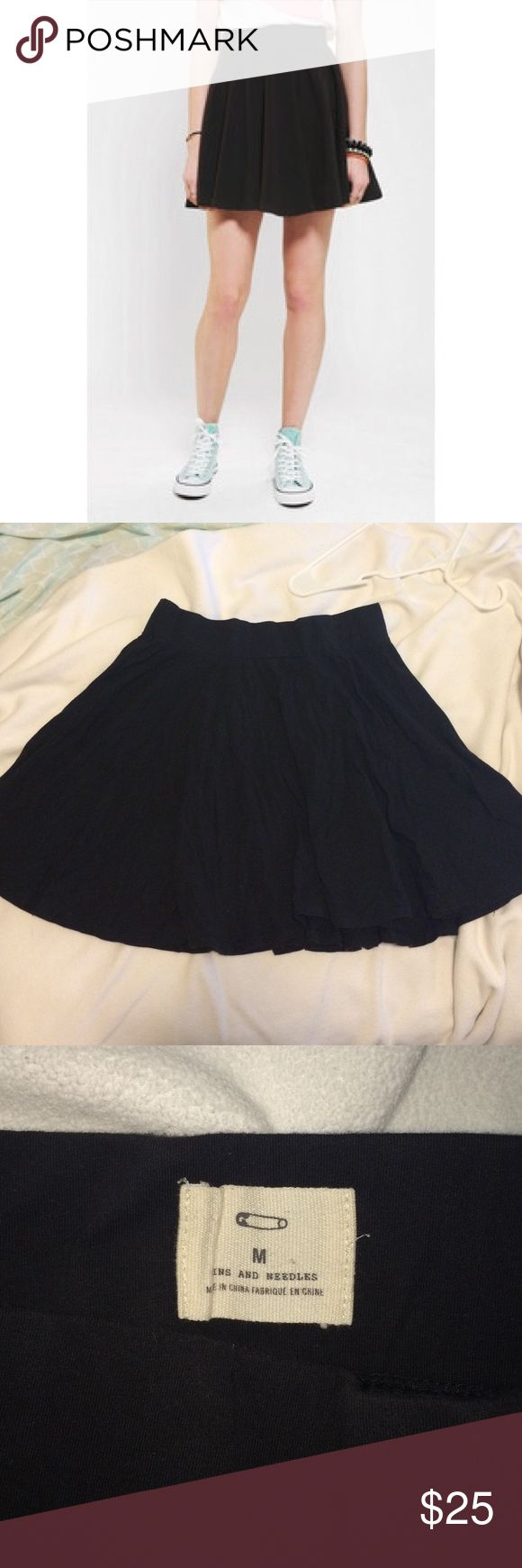 Pins and Needles black skater skirt urban outfitters black skater skirt with very stretchy waistband - in good condition. I wore a size 6-8 in jeans around this time so it should fit around that size Urban Outfitters Skirts Circle & Skater