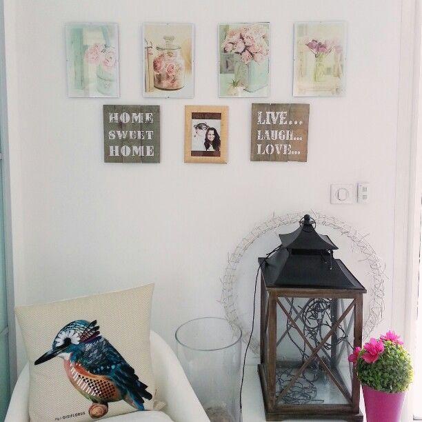 Interior design. Spring decor with bird and pastel flowers