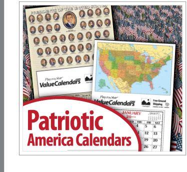 Patriotic America Calendars | United States of America Calendars | USA Calendars, www.valuecalendars.com, patriotic calendars, america, make america great again, presidential calendar, map calendars, usa, american calendars, made in usa, business calendars, promotional products, school calendar, veterans calendars