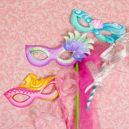 Printable: Disney Princess Masquerade Masks    Print, attach to stick, use ribbons, glitter, gems, and more fun accessories to decorate your mask.    http://spoonful.com/printables/disney-princess-masquerade-masks