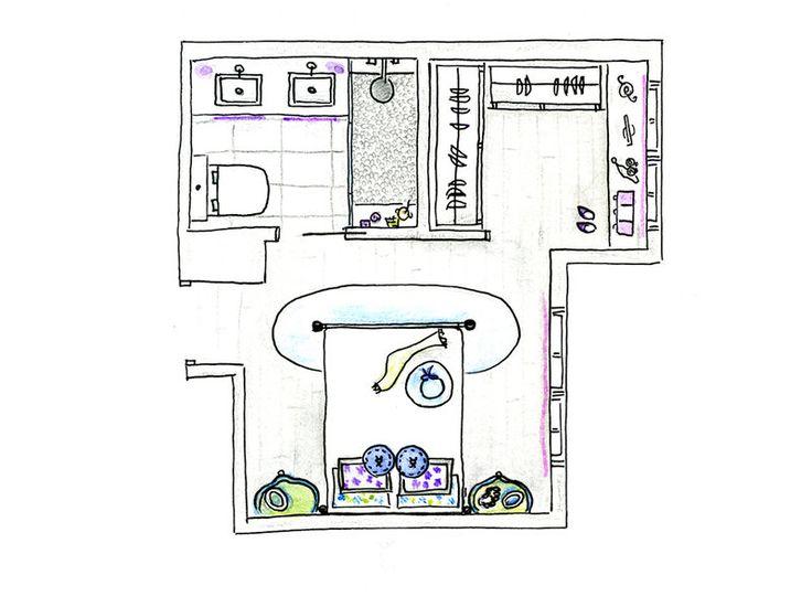 Un dormitorio tipo suite con baño y vestidor