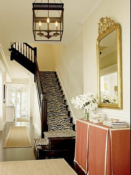 zebra carpet runner on stairs: Decor, Zebras Stairs, Idea, Palmer Weiss, Tables Skirts, Stairs Runners, Skirted Table, Animal Prints, Skirts Tables