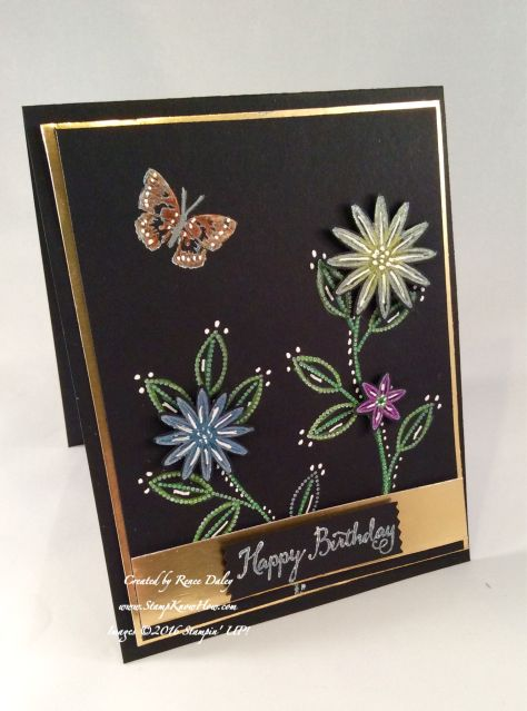 handmade birthdcay care ... dramatic use of Black Magic Technique ... luv the placement of the white dots and the gold foil paper mat ... Stampin' Up!