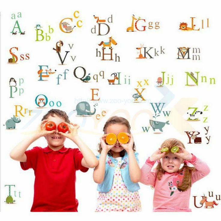 Алфавит питомник декора стены наклейки для детской комнаты декоративные adesivo де parede съемный пвх наклейки на стены