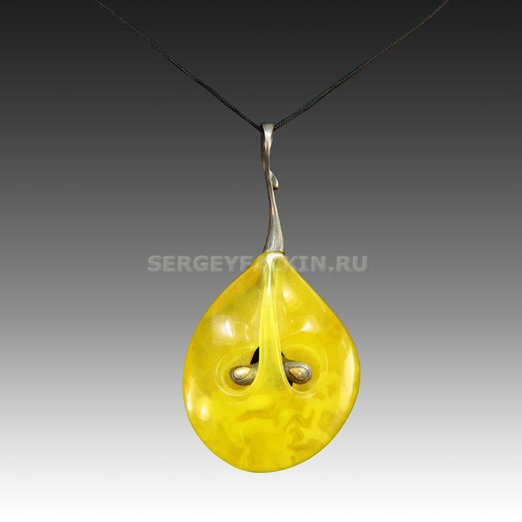 """Amber pendant """"Apple"""". Jewelry - Sergey Falkin workshop. Подвеска янтарная """"Яблоко"""". Ювелирные изделия - Мастерская Сергея Фалькина"""