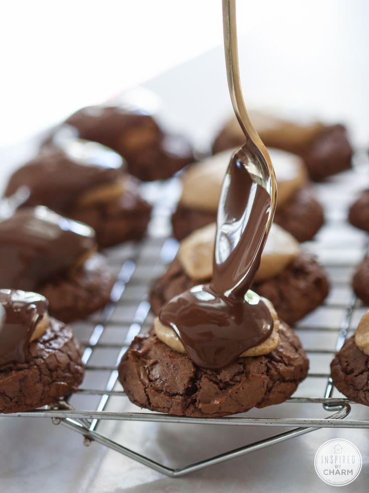 Buckeye Brownie Cookies #recipe from @inspiredbycharm
