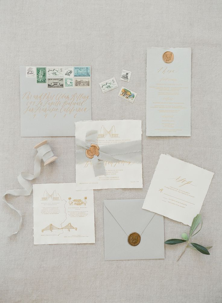 Napa Valley Wedding // Destination Wedding // San Francisco // Handmade Paper Invitations // Calligraphy and Design by: Written Word Calligraphy // Gold Foil // Custom Illustration // Vintage Stamps // Gray Silk Ribbon // KT Merry Photography