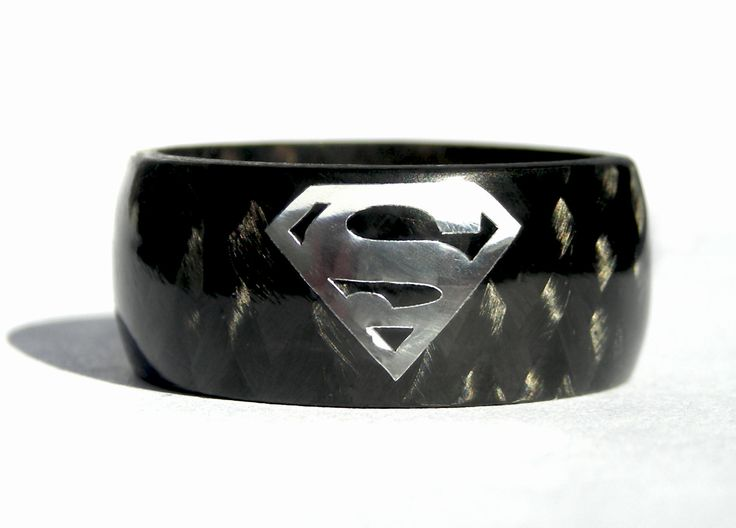 Carbon+Fiber+Superman+Ring+by+Rosler+on+Etsy,+$93.00