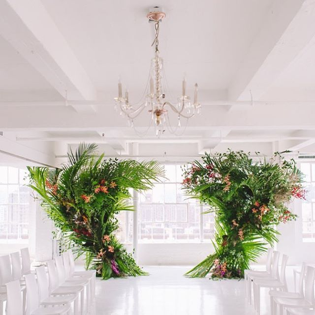 We knew it in advance!! Check out the @chapeldesigners installation from our NYC conference. This was designed 10 months before #greenery was chosen as the 2017 #pantonecoloroftheyear year. #trendsetters we believe in unique artistic installations, tropicals and greenery #chapeldesignerstrendreport2017 @florists_review photo @amanda_dumouchelle
