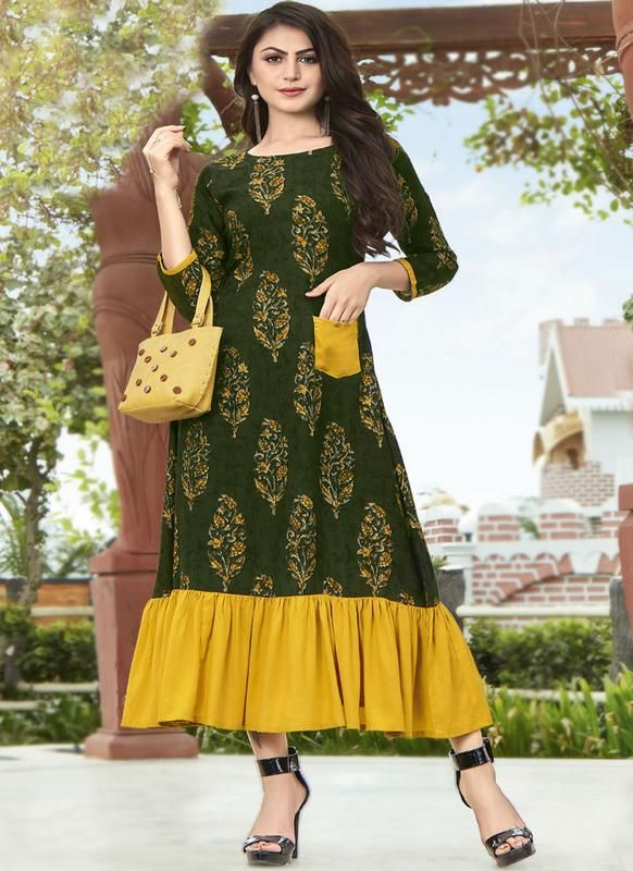 13446276250 Beautiful Green Rayon Cotton Party Wear Printed Kurti in 2019 ...