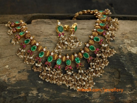 Cute Polki Mala - Diamonds, Emeralds and Rubies with Pearls