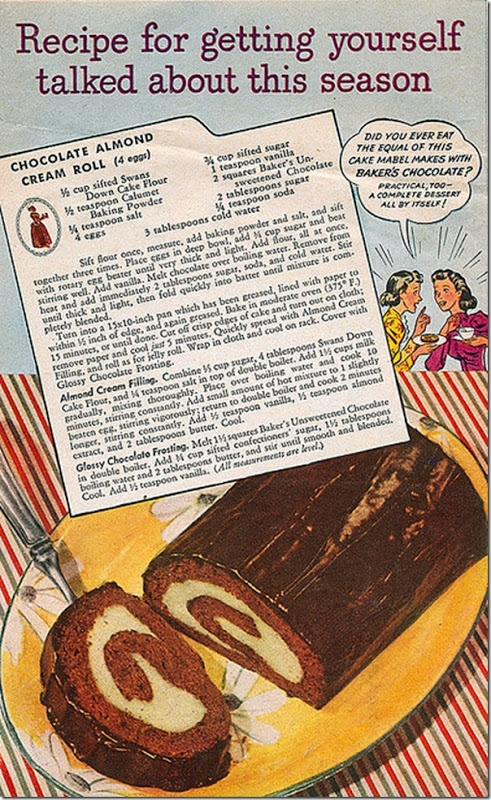 Vintage Chocolate Almond Cream Roll Cake recipe