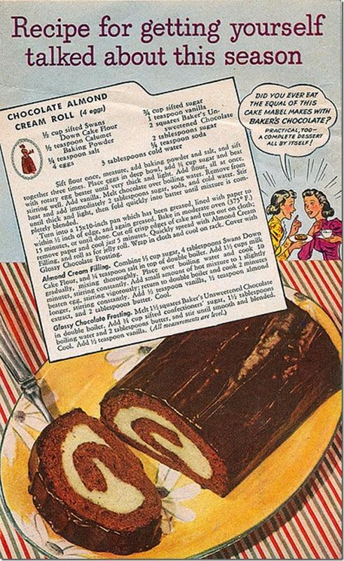 Vintage Chocolate Almond Cream Roll Cake Recipe Vintage