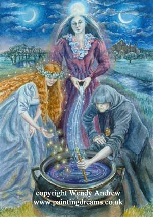 """Triple Goddess    Brigid-Boann-Cerridwen    This Triple Goddess is """"inspired creation.""""    Brigid, Goddess of fire, lady of fertility initiates creativity.    The Boann, mother of all, Goddess of the Boyne (Irish river), issues forth the life giving waters.    Cerridwen, the wise old crone, Goddess of the cauldron of life. She stirs her magic into the brew.    Maiden-Mother-Crone. The complete cycle of life."""