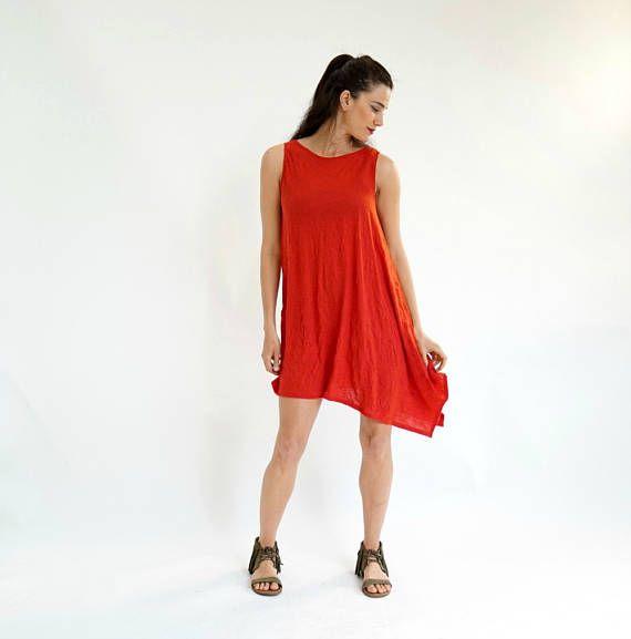 Red Tunic Dress, Summer Dress, Elegant Tunic, Sexy Red Dress, Mini Dress, Asymmetrical Tunic, Sleeveless Tunic, Romantic Dress, Hot Dress