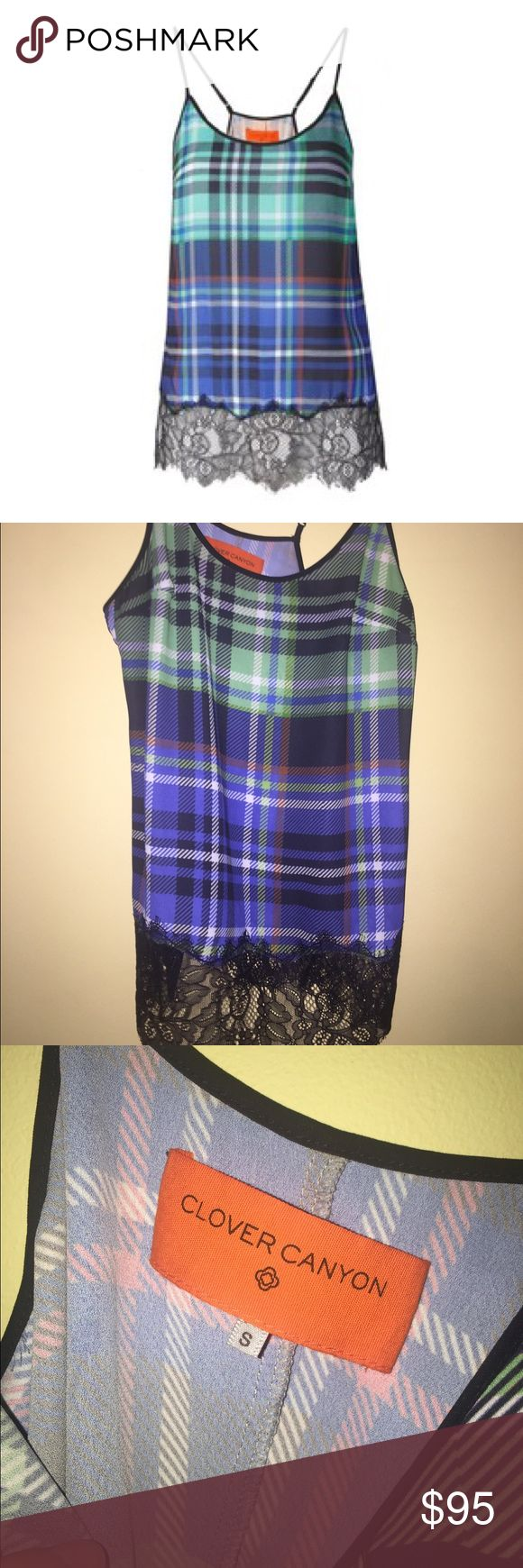 Clover canyon plaid lace top Worn once Clover Canyon Tops Tank Tops