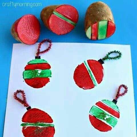 Aardappel kerstballen - leuk voor de bso