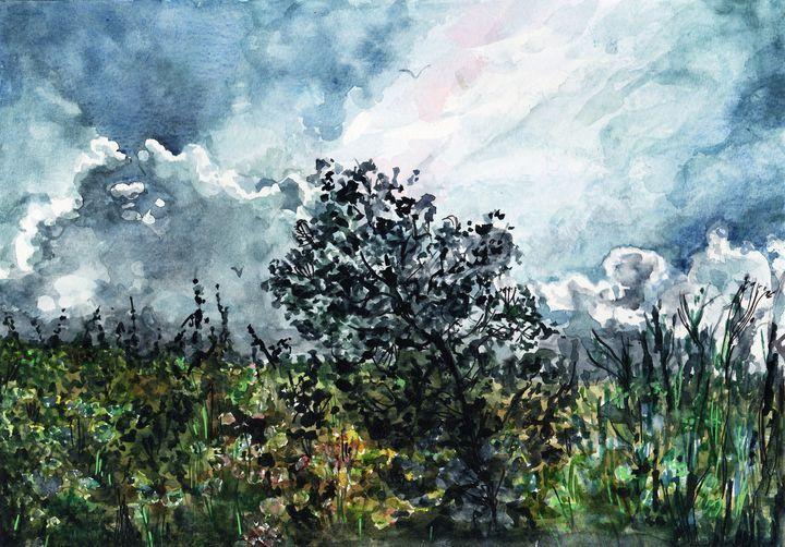 Watercolor Aquarelle Fin D Orage Voicivoila Aquarelle Orage
