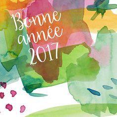 Magnifique carte de voeux aquarelle aux tons doux et jolies tâches de couleurs... Souhaitez une bonne année 2017 en mêlant le rose, le vert, le rouge, le jaune et le bleu... et faites plaisir à tous ceux que vous aimez avec Popcarte !