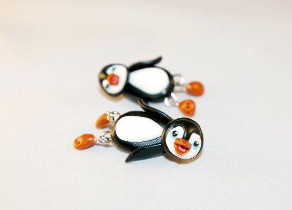 black baby penguin dangling earringsanimal by JEWELRYandPLEASURE