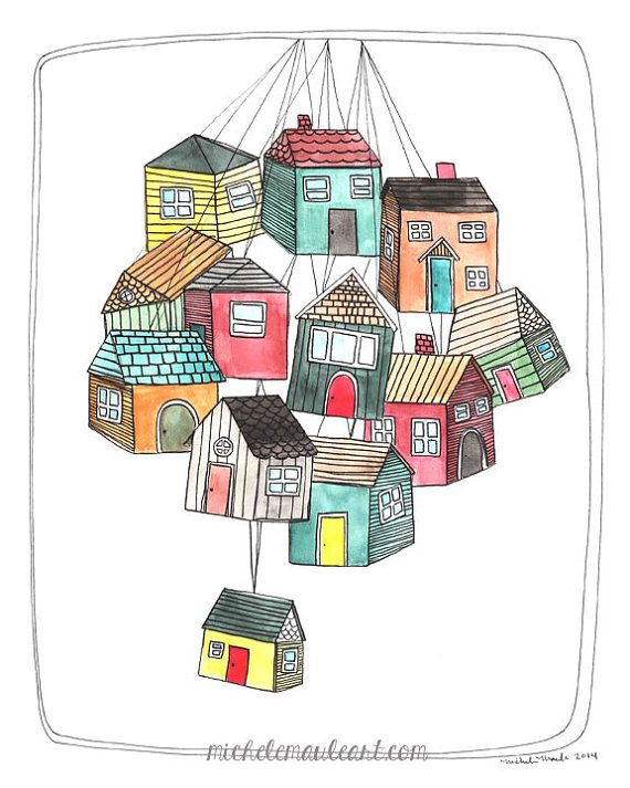 Home Illustration, House Art, Houses, Illustration, Print, Art, Art with Houses, House Illustration - My Thoughts are Like Houses