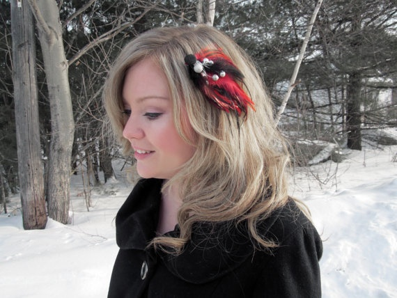 bloomer Red and Black Rooster Feather Clip by SHOWYOURbloomers, $20.00