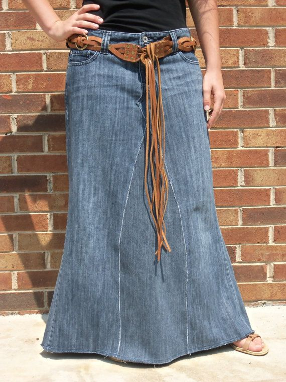 $42.50 Basic Long Jean Skirt, Made from jeans, by WhimsicalJeanSkirts on Etsy