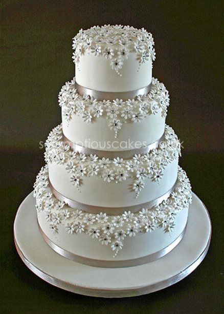 Stunning! Silver and  White Daisy Wedding Cake