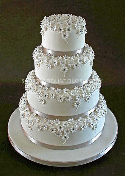 Stunning! Silver and  White Daisy Wedding Cake