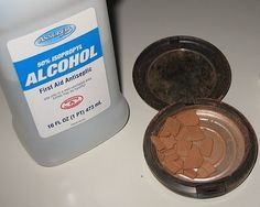 Add a few drops of rubbing alcohol to your broken powder base makeup. Let is soften. Smooth back into shape. Let it dry overnight. And viola! Perfectly repaired makeup!