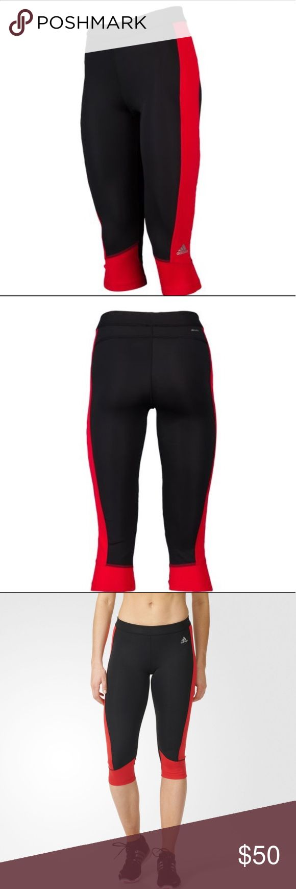 Adidas Capri Pants Adidas Capri Pants.  NWT.  Versitile enough to wear from class to training, for a sleek look and great fit.  Elastic waistband for a snug fit. UPF 50+ UV protection for outdoor training. 70% recycled polyester/19% polyester/11% spandex. adidas Pants Capris
