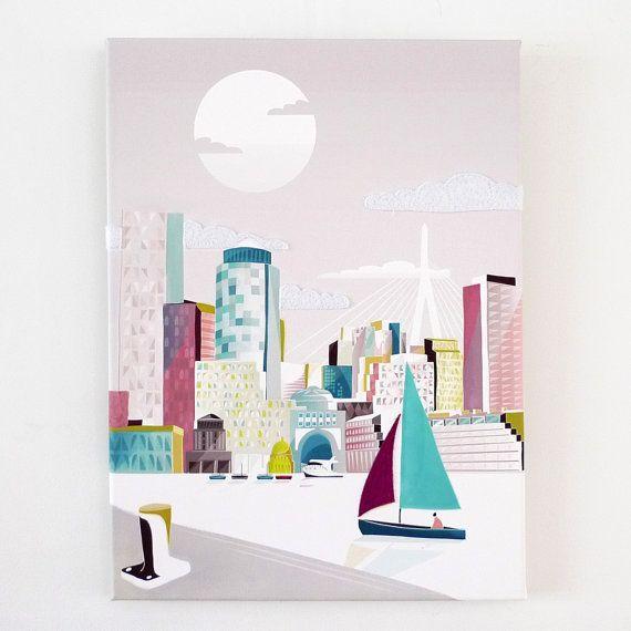 Boston Wall Art Canvas Print, Boston Skyline Prints Poster Travel Poster,  Home Wall Decor Framed Canvas Art, Nursery Office Art Style: